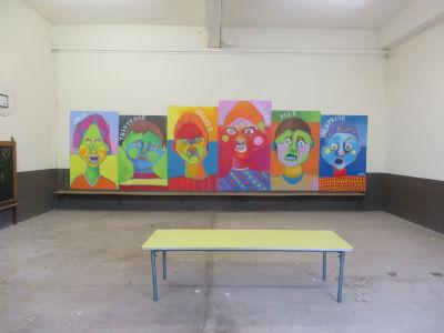 Fresque peinte sur le mur du préau de l'école d'Odenas