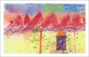 Montagnes ocre rouge