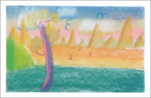 Paysage peint par un enfant de CM1