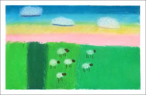 Moutons dans la prairie verte