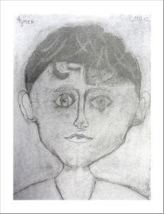 Autoportrait de jeune garçon au crayon
