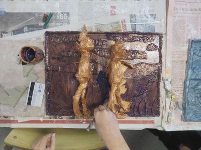 Peinture cuivre et encre violette