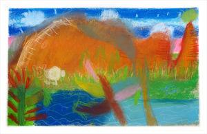 Paysage peint par des enfants à l'école