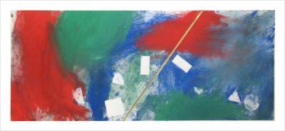 Composition de bleu, vert et rouge