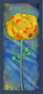 Rose jaune sur fond bleu