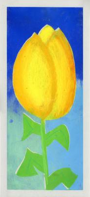 Tulipe jaune peinte par un enfant