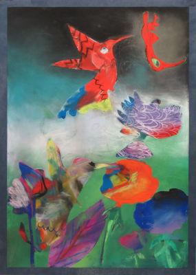 Peindre des colibris rouges