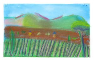 Dessin de paysage au pastel