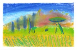 Paysage au pastel peint par un enfant