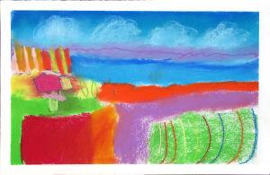 Paysage de Provence au pastel