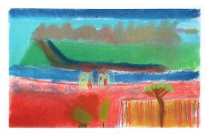 Taches de couleurs qui évoquent un paysage