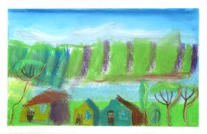 Paysage dessiné par un enfant de CE1