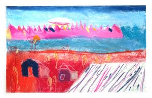 Montagnes roses et champs couleur pourpre