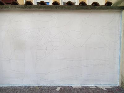 Dessin de fresque sur le mur