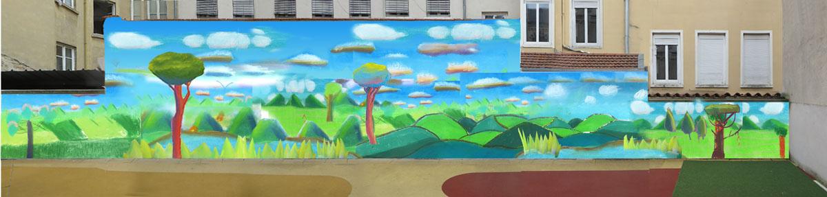 Photomontage de la fresque qui sera peinte à l'école du Saint Sacrement