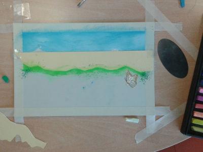 Peindre la ligne d'horizon avec un pochoir