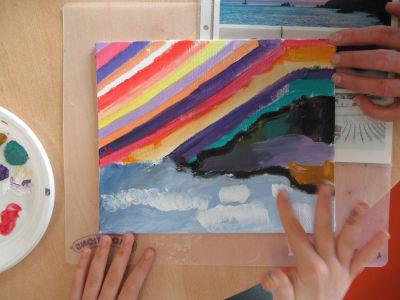 Peindre les vagues avec les doigts