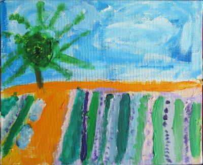 Solein vert sur champs de lavandes
