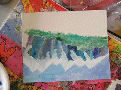 Peindre les collines devant les montagnes