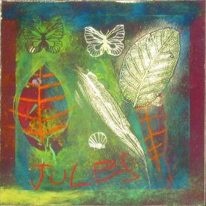 Dessin au pastel et collage de vraies feuilles