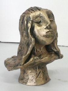 Petit buste en céramique peinte