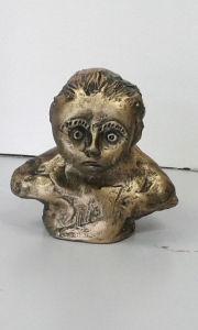 Peinture acrylique et cire dorée