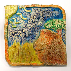 Bas relief représentant un lion