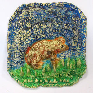 Hamster en céramique peinte