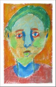 Dessin d'enfant avec des craies de couleur