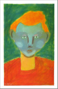 Autoportrait au pastel sec