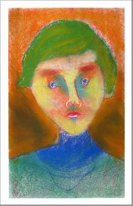 Jeune garçon aux cheveux verts
